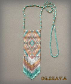 Beaded necklace  seed bead jewelry  beaded pendant  ethnic