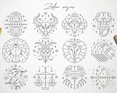 Zodiac Signs Horoscope Symbols Cliparts in Vector and PNG Zodiac Signs Horoscope, 12 Zodiac Signs, Zodiac Symbols, Zodiac Art, Constellations, Zodiac Wheel, Tatting, How To Draw Hands, Line Art
