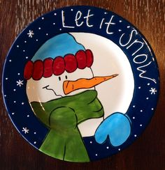"""Let It Snow"" Snowman Plate 