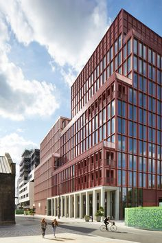 London firm Duggan Morris Architects has completed an office building in London, featuring an aluminium facade in this year's trendiest colour Public Architecture, London Architecture, Modern Architecture, Chinese Architecture, Terrace Building, Building Facade, Building Ideas, Duggan Morris, Architects London