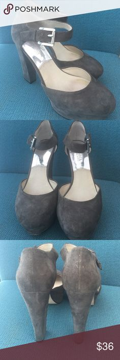 Michael Kors gray suede Pumps With a block heel and ankle strap. Shows some love but great condition. Michael Kors Shoes Platforms