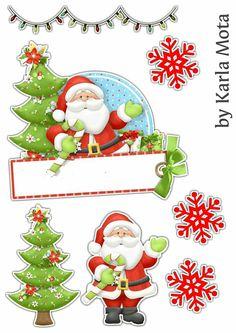 Topo Natalino Christmas Topper, Christmas Diy, Christmas Ornaments, Christmas Decoupage, Felt Crafts Diy, Illustration Noel, Parchment Cards, Santas Workshop, Christmas Paintings