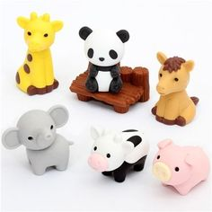"""Iwako Japanese Eraser / Zoo Animal Set on Card by Iwako. $5.50. cute erasers with panda, giraffe, horse, cow, pig, elephant and bench. by Iwako. size of each eraser: 2.5-3.5cm (1""""-1.4""""). Import from Japan. very good quality. cute erasers with panda, giraffe, horse, cow, pig, elephant and bench from Japan"""