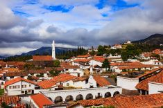 Guatavita, Colombia; Spanish Colonial style architecture on the Andes Mountains. stock photo
