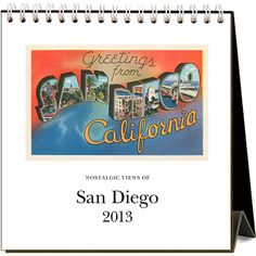 Nostalgic Views of San Diego Easel Calendar: Greetings from San Diego, California, land of perfect weather, beaches and the famous Hotel Del Coronado! This easel desk calendar features vintage postcard images of San Diego from 1920 to 1960.  $12.95  http://calendars.com/San-Diego/Nostalgic-Views-of-San-Diego-2013-Easel-Desk-Calendar/prod201300000932/?categoryId=cat00837=cat00837#