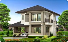 Picture of a Two Storey House Two Story House Design, 2 Storey House Design, Village House Design, Two Storey House, House Front Design, Modern House Design, 4 Bedroom House Designs, Architecture Classique, Modern Bungalow House