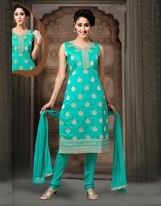 0499a795a82eab Aqua Art Silk Readymade Churidar Suit 78576