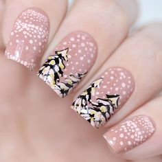 This seemingly ordinary and classic winter manicure was refreshed by a black color of firs. nail art designs 2019 elegant nail designs for short nails essie nail stickers nail art stickers walmart best nail stickers 2019 Christmas Manicure, Xmas Nails, Holiday Nails, Christmas Nail Art Designs, Winter Nail Designs, Christmas Ideas, Modern Christmas, Christmas Quotes, White Christmas