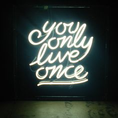 Light Up Neon Sign | Hanging Wall Art | Typography | Quote | You Only Live Once