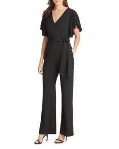 bdadc367a50 Eliza J Pleated Flutter-Sleeve Jumpsuit Women - Jumpsuits   Rompers -  Bloomingdale s