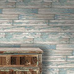 Peeling Planks Clark and Clarke Wood panel Effect Faux wallpaper Blue Colour (Sample Only)