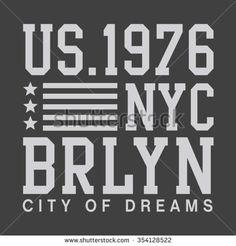 Brooklyn New York city typography, t-shirt graphics, vectors