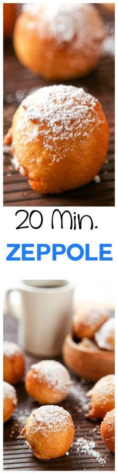 Easy Zeppole Recipe: Crispy on the outside, yet light and fluffy on the inside these mini Italian donut holes will become your new favorite breakfast treat. Best of all they take less than 20 minutes , can you guess what secret ingredient makes them so ir Italian Donuts, Italian Desserts, Just Desserts, Italian Recipes, Delicious Desserts, Dessert Recipes, Yummy Food, Italian Cookies, Italian Pastries