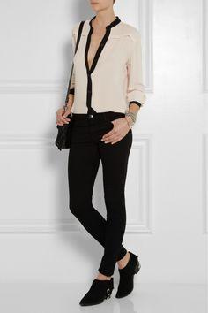 McQ Alexander McQueen|Two-tone crepe blouse|NET-A-PORTER.COM