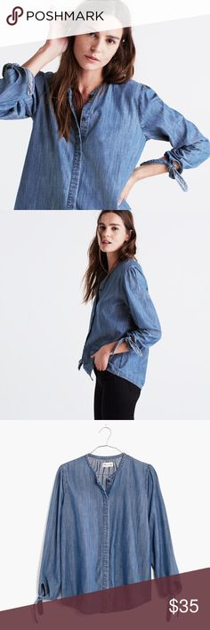 Madewell Denim Tie-Sleeve Chambray Shirt XS Great chambray addition to your wardrobe! Button up chambray shirt with tie sleeve detailing and tiny pleats at the shoulder for added detail. Fits TTS, and it's too oversized or too snug, just right fit! Worn once and in excellent condition. First 3 pics are stock photos, last 2 are mine. 🚫Trades 🚫PayPal Madewell Tops Button Down Shirts