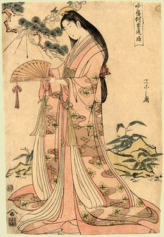 Sotoori Hime by Eishi Hosoda a traditional Japanese Ukyio-e style illustration of a traditional Japanese princess, Sotoori princess catching a spider with a fan. Traditional Japanese Tattoo Designs, Japanese Art Styles, Japanese Drawings, Japanese Artwork, Japanese Painting, Japanese Artists, Traditional Art, Traditional Japanese Kimono, Geisha Kunst