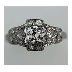 gorgeous!! Art Deco Platinum Old European Cut Diamond Engagement Ring Circa Early 1900's