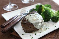 Steak with gorgonzola butter sauce.