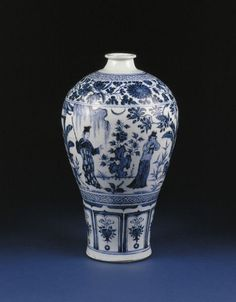 Vase (meiping) with a scene from The West Chamber , Yuan dynasty , 1320-1350 , Jingdezhen kilns, south China. Height: 35.6 cm, Diameter: 22 cm. Porcelain, with decoration in underglaze blue. Museum no. C.8-1952. From the W.W. Winkworth collection [2007] © V&A Images.