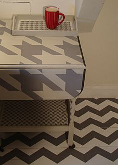 Stencil Library: Chevron stencil on floor, houndstooth and dogstooth stencils on furniture.