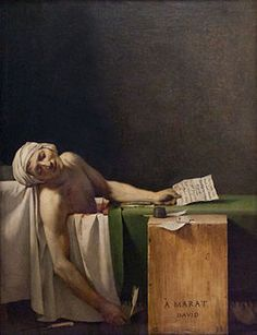 "Jaques-Loui David, ""Death of Marat, 1793. I have a passion for the Neoclassicism era of painting, the way that David (who is so talented) displays this revolutionary writer as a martyr and a saint of the French revolution is remarkable you can almost feel the pain and outrage of Marat's untimely death."