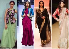 Ideas on How to flaunt in a saree without showing tummy and to hide post pregnancy fat, love handles. Also some Do's and Don'ts to get the elegant saree look. Sari Blouse, Long Blouse, Saree Blouse Designs, Peplum Blouse, Kanakavalli Sarees, Saree Jackets, Saree Draping Styles, Mehendi Outfits, Half Jacket