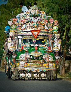 Colourful decorated bus on the roads of Pakistan - wow