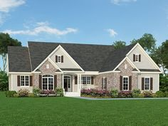 Home Plan is a gorgeous 2165 sq ft, 1 story, 4 bedroom, 3 bathroom plan influenced by Country style architecture. THIS HOUSE❤️💜 Four Bedroom House Plans, House Plans One Story, New House Plans, Dream House Plans, House Floor Plans, Basement Floor Plans, Basement House, One Story Homes, Story House