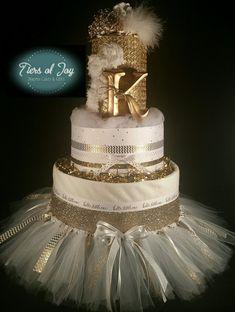 4 Tier Cream & gold Princess Diaper Cake