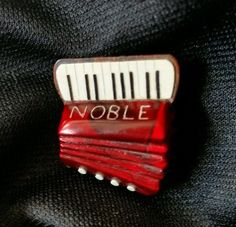 vintage bakelite pin brooch accordion music Noble Italy handpainted rare mint #NobleinItalyfamousaccordionmaker