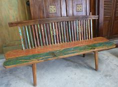 Bali Furniture Hand Carved Recycled Retro Boat Timber Solid Low Bench Seat Chair