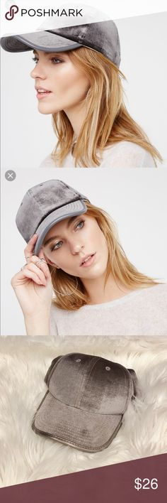 Free People Ashbury Velvet Baseball Cap NWT. 100% polyester. Grey. Super cute! Feel free to ask any questions😊 Free People Accessories Hats