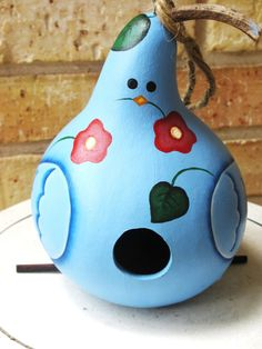 Cute Blue Bird on a Branch Gourd by KaoriKreations on Etsy, $25.00