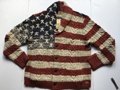 Ralph Lauren Denim & Supply Men American USA Flag Rustic Knit Sweater Cardigan M | Clothing, Shoes & Accessories, Men's Clothing, Sweaters | eBay!