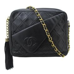 Chanel 1970's black quilted tassel bag
