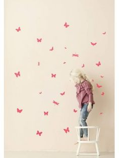 Ferm Living Muursticker mini vlinders Wall Stickers - Mini Butterflies Neon roze