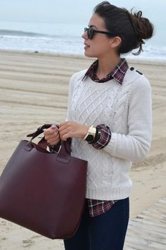 winter white / burgundy / plaid / fall layers