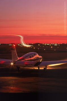 Beechcraft Bonanza at sunset