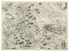 Hugo de Groot   Belegering van Zaltbommel, 1599, Hugo de Groot, Staten-Generaal, 1601   Kaart met de belegering van Zaltbommel en andere sterkten in de Bommelerwaard in handen van het Staatse leger onder Maurits door de Spanjaarden onder Mendoza, en de bouw van de schans Sint-Andries, van begin mei tot begin juni 1599. Links de Maas, onderaan de Waal, rechts Bommel. Voorstelling in een ovaal met randschrift in het Latijn. In de vier hoeken twee engelen en de twee bijbelse helden Gideon en…