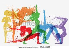 Fitness background with woman Silhouette of particles. Yoga poses. Color sport poster, print or banner. Vector illustration