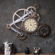 Industrial Gear Clock wind wall mural wall decoration wall clock