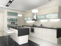 Ultra moderne weiße Küche