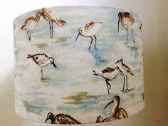 Handmade lampshade in watercolour sea birds fabric by BrightenUpUK