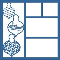 Merry Christmas Ornaments - Laser Die Cut Scrapbook Overlay