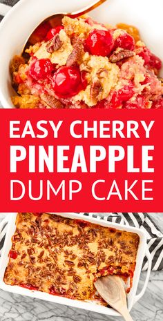 Cherry Pineapple Dump Cake -- with just 5 ingredients this super easy cherry dump cake recipe is sure to become your go-to dessert for cookouts potlucks and every other occasion. Just dump spread sprinkle dot and bake! Cherry Desserts, Köstliche Desserts, Cheesecake Desserts, Lemon Desserts, Homemade Desserts, Homemade Breads, Health Desserts, Dump Meals, Easy Meals