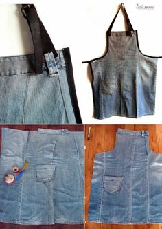 Apron made of one old jeans! Fashion Jeans, Jean Apron, Sewing Aprons, Denim Aprons, Diy Jeans, Jean Crafts, Recycled Denim, Bandana, Crafty