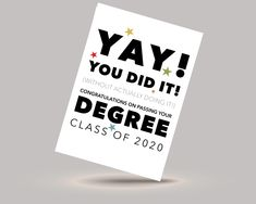 Class of 2020 Degree congratulations card - for the year when no one #graduation  actually took their exams!   #degree #degree2020 #exams #congratulationscard #youdidit #BSC #BA #phd #classof2020 #graduation