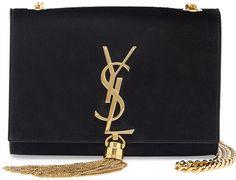 Saint Laurent Monogram Small Suede Tassel Crossbody Bag, Black - $1,890.00
