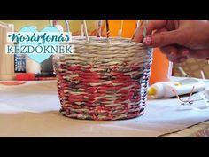 Kosárfonás papírból - 2. - A papírcsövek festése - YouTube Newspaper Art, Newspaper Basket, Sun Paper, Kirigami, Wicker, Coasters, Wax, Projects To Try, Creations