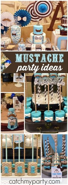 How fun is this turquoise and brown mustache birthday party! See more party ideas at CatchMyParty.com!